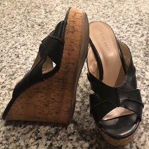 Nine West black peep toe wedges